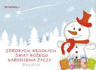 eKartki Boże Narodzenie Bałwan życzy,