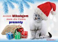 eKartki Boże Narodzenie Kotek - Mikołajek,