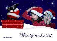 eKartki Boże Narodzenie Mikołaj w kominie,