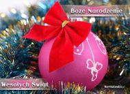 eKartki Boże Narodzenie Różowa bombka,