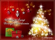 eKartki elektroniczne z tagiem: Kartka na Bo¿e Narodzenie B³yszcz±ca choinka,