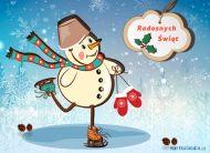 eKartki elektroniczne z tagiem: Kartka bożonarodzeniowa Szczęśliwy bałwanek,