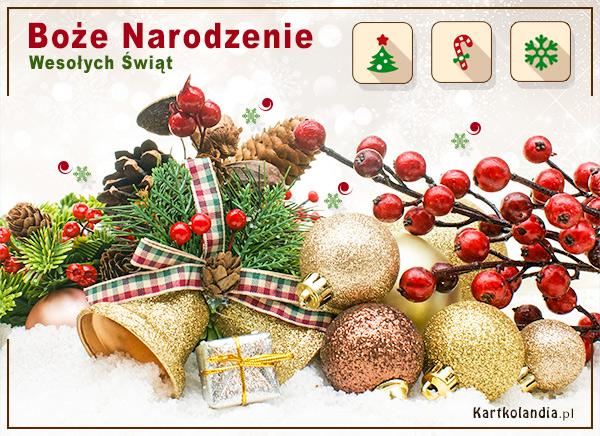 eKartki elektroniczne z tagiem: Bożonarodzeniowy Stroik Kartka - Wesołych Świąt,