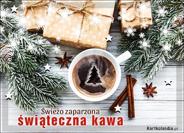 eKartki elektroniczne z tagiem: Kawa Świeżo zaparzona świąteczna kawa,