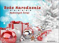 eKartki elektroniczne z tagiem: Bożonarodzeniowe Bombki Śnieżne święta - Radosnych Świąt!,