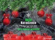 eKartki elektroniczne z tagiem: Bożonarodzeniowe Bombki Pocztówka z prezentami,