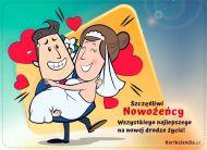 eKartki elektroniczne z tagiem: e-Kartka na ślub Szczęśliwi Nowożeńcy,