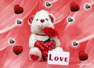 eKartki Miłość - Walentynki Biały miś,