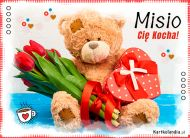 eKartki elektroniczne z tagiem: Prezent na Walentynki Misio Cię Kocha!,