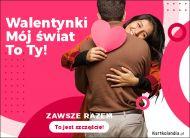 eKartki elektroniczne z tagiem: Walentynki Mój świat to Ty!,