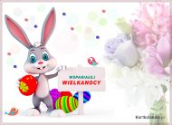 eKartki elektroniczne z tagiem: Kartki Wielkanoc online Zajączek z życzeniami,