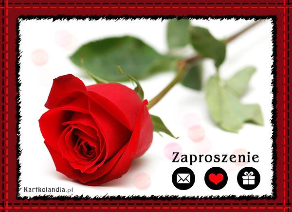 Zaproszenie z różą w tle