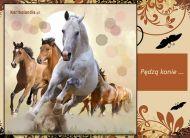 eKartki Zwierzęta Pędzą konie,
