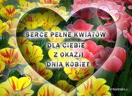 eKartki Dzieñ Kobiet Serce pe³ne kwiatów,