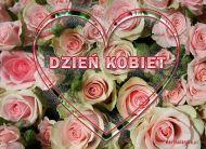 eKartki elektroniczne z tagiem: Dzień Kobiet kartki darmowe Serce z różami,