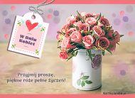 eKartki Dzień Kobiet Piękne róże pełne życzeń,