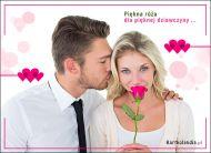 eKartki elektroniczne z tagiem: Kwiaty Róża dla pięknej dziewczyny,