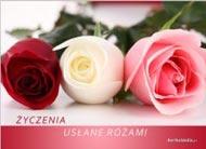 eKartki Imieninowe Życzenia usłane różami,