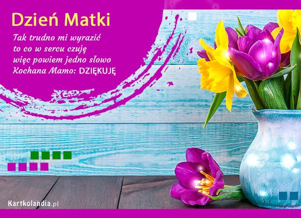 eKartki elektroniczne z tagiem: Tulipan Dzień Matki - Dziękuję!,