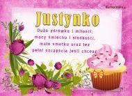eKartki Imienne damskie Słodki dzień Justynki,