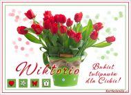 eKartki elektroniczne z tagiem: ¯yczenia imieninowe Bukiet tulipanów dla Wiktorii,