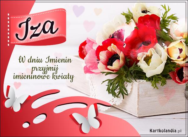 Kartka z kwiatami dla Izy