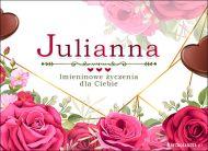 eKartki Imienne Damskie Imieninowe róże dla Julianny,