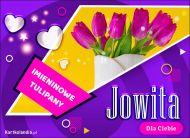 eKartki elektroniczne z tagiem: Kartka na imieniny Jowita - Imieninowy bukiet tulipanów,