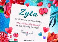 eKartki Imienne Damskie Kartka Imieninowa dla Zyty,