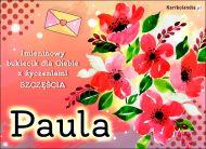 eKartki elektroniczne z tagiem: e-Kartka na imieniny Paula - Bukiet dla Ciebie,