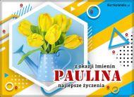 eKartki elektroniczne z tagiem: Kartka na imieniny Paulina - Imieninowy bukiet tulipanów,