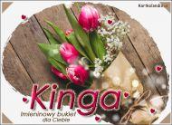 eKartki elektroniczne z tagiem: e-Kartka na imieniny Tulipany z życzeniami dla Kingi,