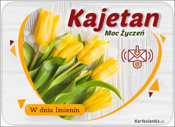 eKartki elektroniczne z tagiem: Życzenia na imieniny Tulipany z życzeniami dla Kajetana,