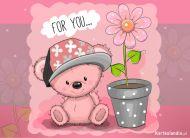 eKartki elektroniczne z tagiem: Darmowe e-kartki kwiaty Kwiatuszek od Misia,